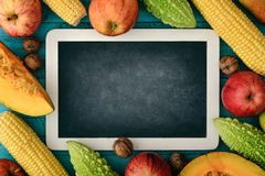 Thanksgiving day concept. Blank chalk board with apples, pears, pumpkin, nuts and bitter melon on wooden background, top view Royalty Free Stock Image