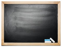 Blank chalkboard. Black blank chalkboard with wood frame Royalty Free Stock Photos