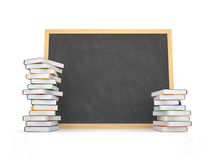 Blank chalkboard with book Royalty Free Stock Photos