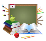 Blank chalkboard and books Stock Photos