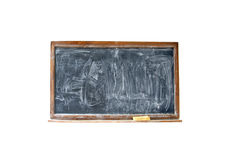 Blank chalkboard with eraser in wooden frame Royalty Free Stock Photos