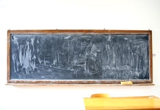 Blank chalkboard with eraser in wooden frame Stock Image