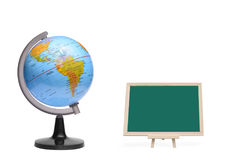 Blank chalkboard with globe ball stock photos