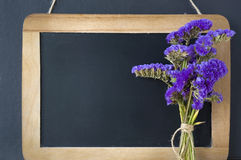 Blank chalkboard. With purple flowers Royalty Free Stock Image