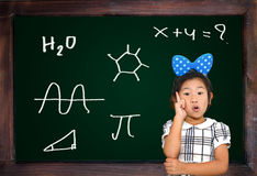 Blank chalkboard and wood frame isolated Stock Photos
