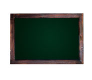 Blank chalkboard and wood frame isolated Stock Photo