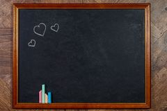 Blank chalkboard in wooden frame Royalty Free Stock Photos