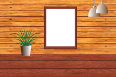 Blank chalkboard on Wooden Wal Royalty Free Stock Photos