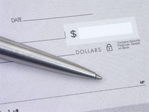Blank Check. With silver pen