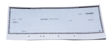 Blank check. Just one business blank check on white background Stock Photography