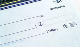 Blank check. Blue blank check with amount dollars and date boxes Royalty Free Stock Images