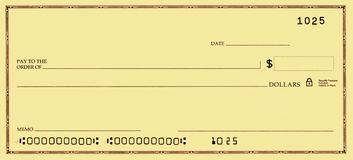 Blank Check with False Numbers Royalty Free Stock Photography