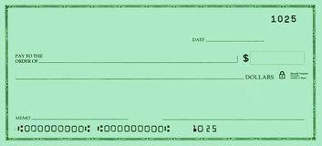 Blank Check with False Numbers. In a green tone Royalty Free Stock Images