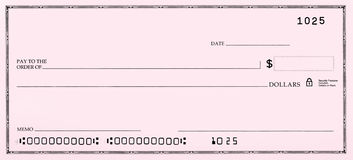 Blank Check with False Numbers. Blank pink check with fake numbers Stock Images