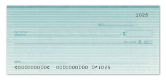 Blank Check with False Numbers. Blank check with fake numbers in green Royalty Free Stock Photos