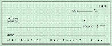 Blank check with false numbers Stock Image