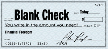 Blank Check - Financial Freedom from Wealth. The words Blank Check and you write in the amount you need, representing financial freedom Royalty Free Stock Photo