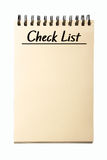 Blank Check List. Notebook isolated on white background Royalty Free Stock Image