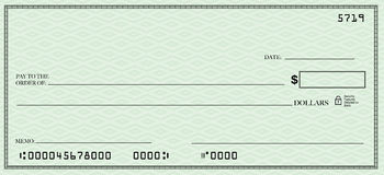 Blank Check with Open Space for Your Text. A blank check design with open spacing for you to place your own words Stock Illustration