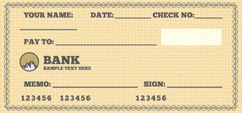 Blank check Stock Image