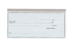 Blank checkbook on white desktop Royalty Free Stock Image