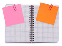 Blank checked notebook with notice papers Stock Image