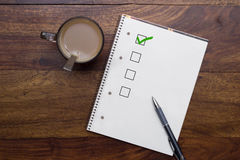 Blank checklist. With checkbox and pen stock image