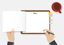 Blank checklist clipboard with businessman's hand holding black pencil and a cup of coffee. Stock Images
