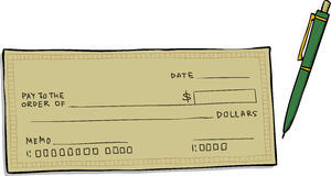 Blank cheque stock vector. Illustration of painting, cartoon - 48687021