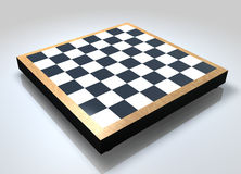Blank Chess Board. A 3D blank chess board placed on a reflective background Stock Photography