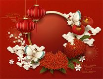 Blank Chinese new year background. Peony and red lanterns decorations royalty free illustration