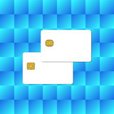 Blank Chip Credit Card on Abstract Blue Background. Vector Illustration royalty free illustration
