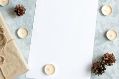 Christmas decorations with space for text. stock image
