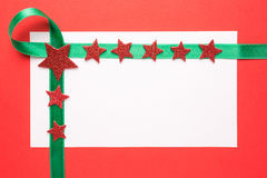 Blank Christmas card with green ribbon Stock Photo