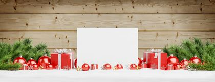 Blank Christmas card laying on red baubles and gift 3D rendering stock illustration