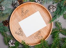 Blank Christmas card template on wooden plate. With fir branches, top view Stock Images
