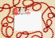 Blank christmas greeting card with decor Stock Photos