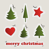 Blank Christmas Labels with Scissors Royalty Free Stock Photo