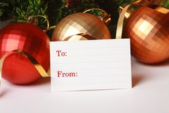 Blank christmas paper tag Stock Image