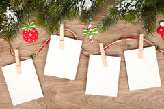 Blank christmas photo frames. With fir tree and decor Stock Images