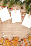 Blank christmas photo frames. With fir tree and gingerbread cookies Stock Photo
