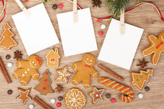 Blank christmas photo frames. With fir tree and gingerbread cookies Stock Image