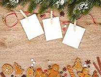 Blank christmas photo frames. With fir tree and gingerbread cookies Stock Photography