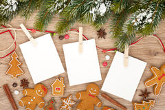 Blank christmas photo frames. With fir tree and gingerbread cookies Royalty Free Stock Image