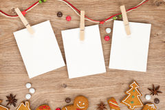 Blank christmas photo frames. With homemade gingerbread cookies Stock Images