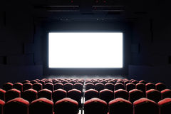 Blank cinema screen front. Front view of cinema with blank screen. Mock up, Ad concept, 3D Rendering Royalty Free Stock Image