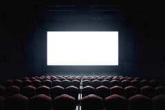 Blank cinema screen. Cinema with blank screen. Mock up, Ad concept, 3D Rendering Royalty Free Stock Photo