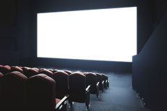 Blank cinema screen side. Side view of cinema with blank screen. Mock up, Ad concept, 3D Rendering Stock Photos
