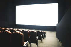 Blank cinema screen toning. Side view of cinema with blank screen. Toned image. Mock up, Ad concept, 3D Rendering Stock Photography