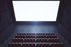 Blank cinema screen top. Top view of cinema with blank screen. Mock up, Ad concept, 3D Rendering Stock Images